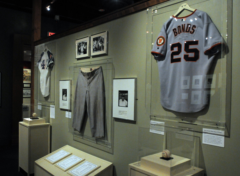 """. Barry Bonds jersey is included in the \""""Baseball!\"""" exhibit.The Exhibition opens April 4, 2014 at the Ronald Reagan Presidential Library and Museum.  Running through September 4, 2014, Baseball is a 12,000 square foot exhibition featuring over 700 artifacts, including some of the rarest, historic and iconic baseball memorabilia.  (Photo by Dean Musgrove/Staff Photographer)"""