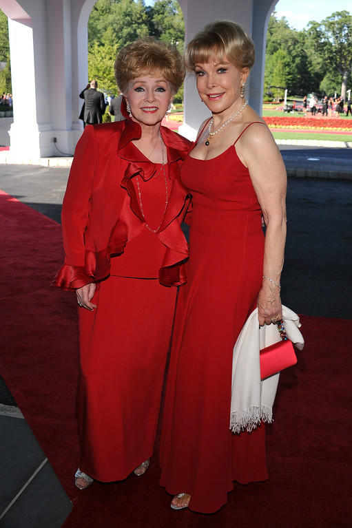 . Actors Debbie Reynolds and Barbara Eden attends the grand opening of the Casino Club at The Greenbrier on July 2, 2010 in White Sulphur Springs, West Virginia.  (Photo by Bryan Bedder/Getty Images)
