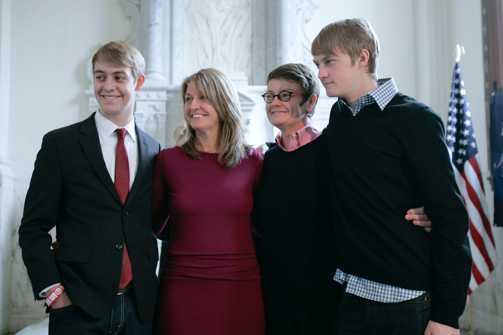 . Plaintiffs Sandy Stier and Kris Perry with sons Elliott and Spencer Perry after the appeals court ruling that Prop 8 is unconstitutional.   Photo by David Crane/Los Angeles Daily News.
