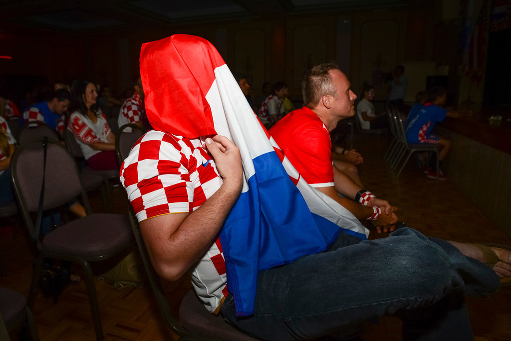 . A Croatian can\'t bear to watch a penalty kick during the soccer match between Brazil and Croatia, Brazil scored on the kick.  Croatian fans gathered at St. Anthony Croatian Catholic Church in Los Angeles for the match which was the first one of the world cup.   ( Photo by David Crane/Los Angeles Daily News )