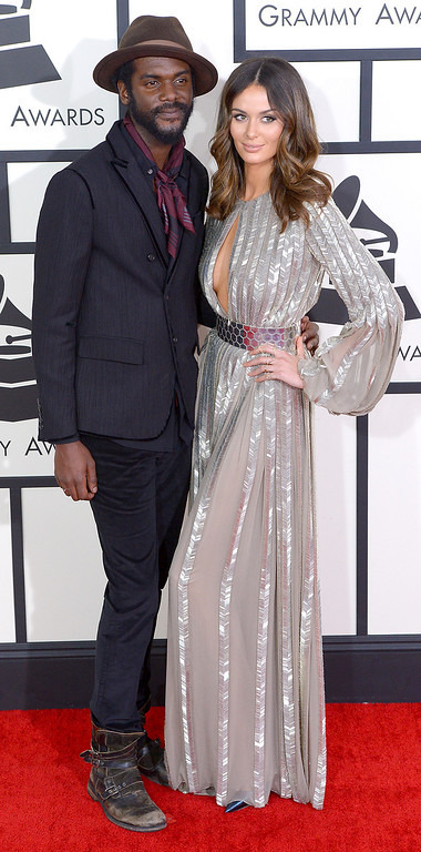 . Gary Clark Jr. and Nicole Trunfio arrive at the 56th Annual GRAMMY Awards at Staples Center in Los Angeles, California on Sunday January 26, 2014 (Photo by David Crane / Los Angeles Daily News)