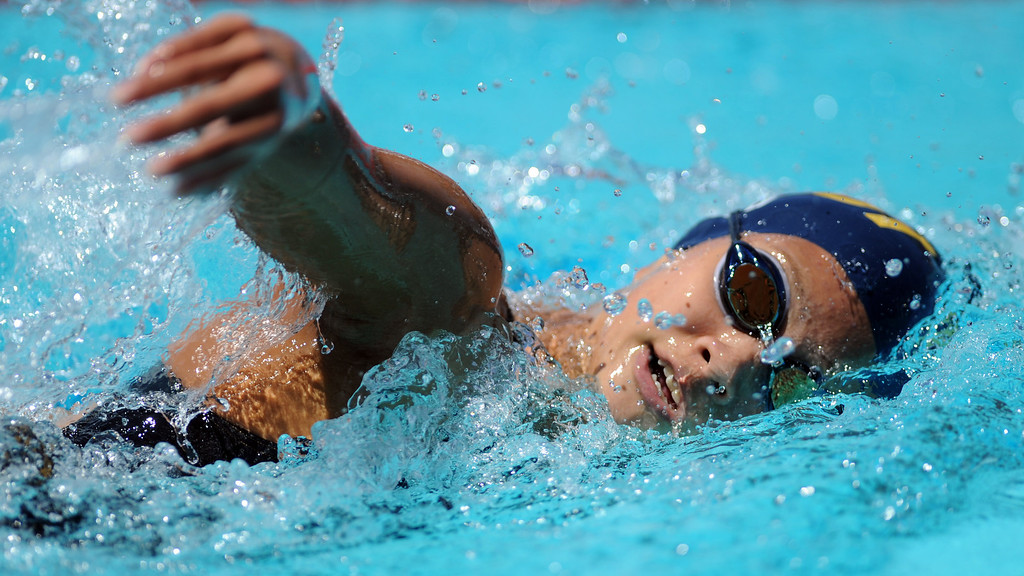 . Walnut\'s Theresa Lo finished third in the 500 freestyle during the CIF-SS Division II swim finals at Riverside City College on Saturday, May 11, 2013 in Riverside, Calif.  (Keith Birmingham Pasadena Star-News)