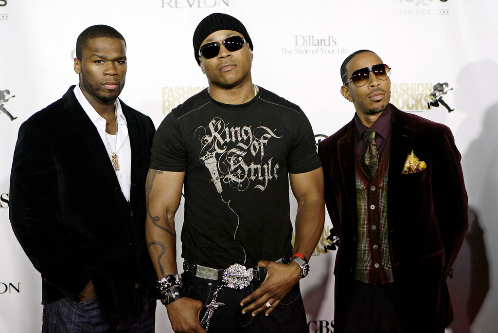 . Hip-Hop artist, from left,  50 Cent, LL Cool J, and Ludacris arrive at the fourth annual Fashion Rocks concert at Radio City Music Hall, presented by Conde Nast Media Group, New York, Thursday, Sept. 6, 2007. (AP Photo/Stuart Ramson)