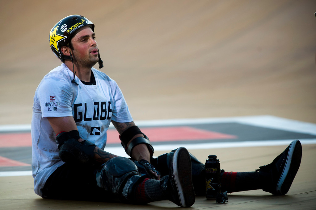 . Elliot Sloan takes a rest after winning the America\'s Navy Skateboard Big Air final during X Games Los Angeles at Irwindale Event Center in Irwindale on Thursday, August 1, 2013. (SGVN/Staff photo by Watchara Phomicinda)