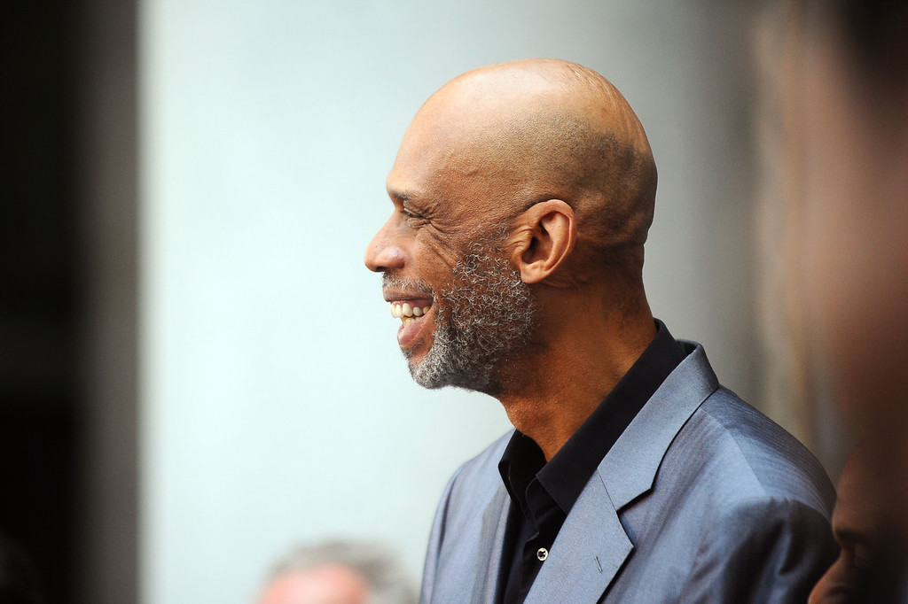 . Kareem Abdul-Jabbar looks on during a press conference at Los Angeles city hall regarding NBA Commissioner Adam Silver\'s banning of Donald Sterling for life from any association with the Clippers or the NBA  April 29, 2014.(Andy Holzman/Los Angeles Daily News)