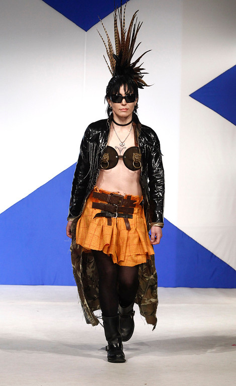 . Musician Joan Jett walks the runaway in the 8th annual Dressed To Kilt charity fashion show in New York, on Monday, April 5, 2010. (AP Photo/Peter Kramer)