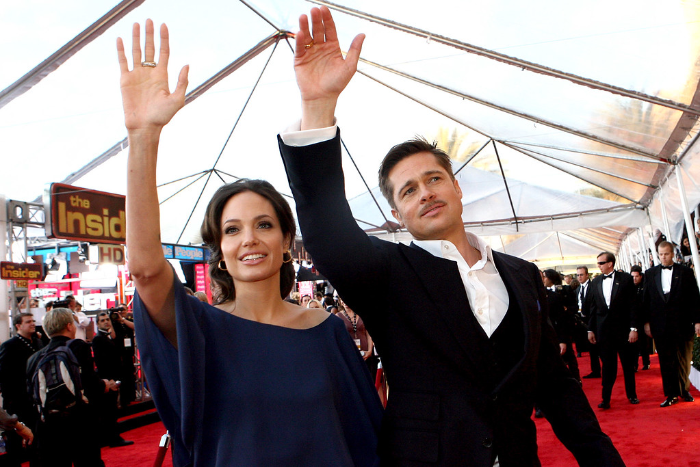 . Brad Pitt and Angelina Jolie arrives to the Screen Actors Guild Awards at the Shrine Auditorium on January 25, 2009 in Los Angeles, California. (Photo by Andy Holzman/L.A. Daily News)