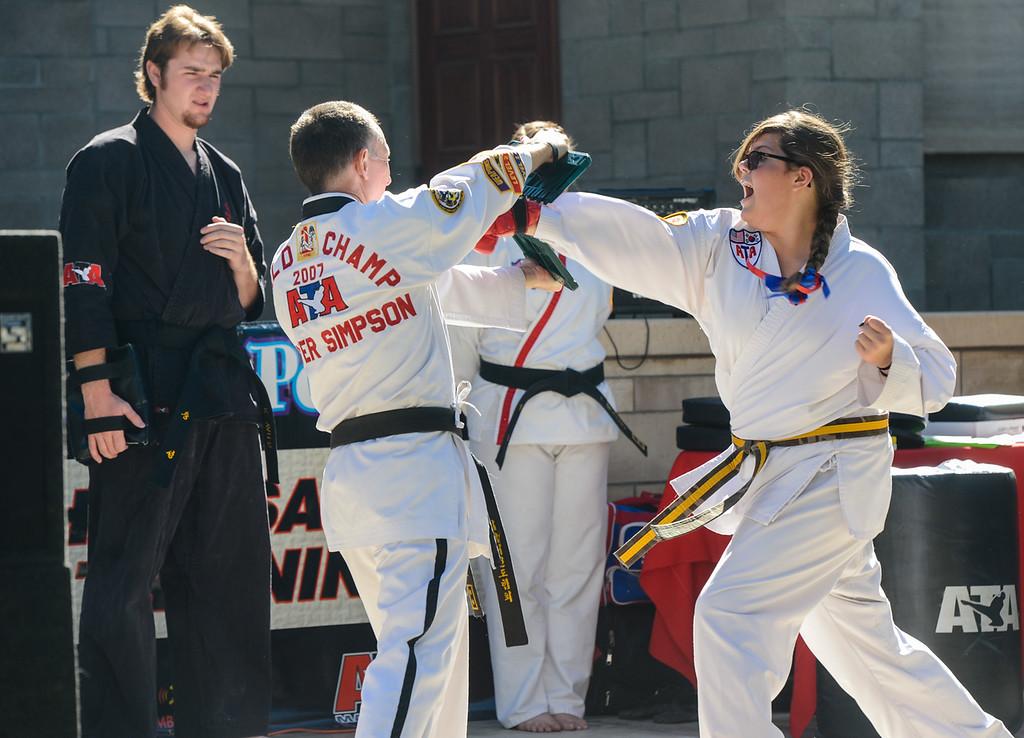 . Local Redlands martial arts students put on a show at the Redlands 125th anniversary celebration on Saturday, Nov. 2, 2013. (Photo by Rachel Luna / San Bernardino Sun