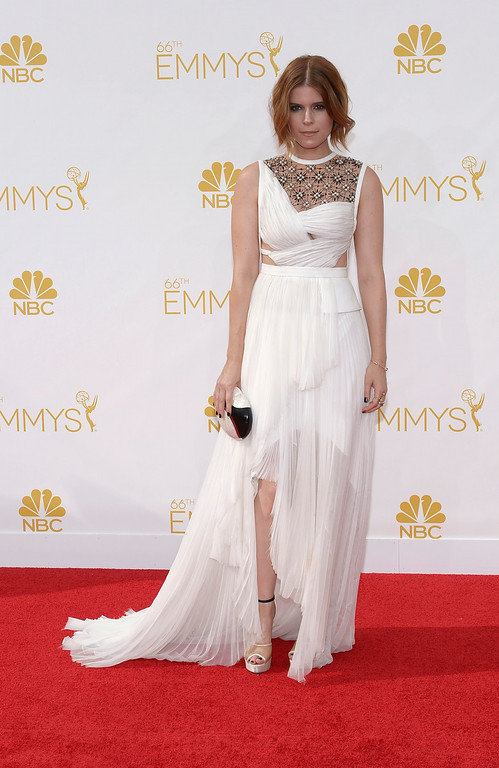 . Actress Kate Mara on the red carpet at the 66th Primetime Emmy Awards show at the Nokia Theatre in Los Angeles, California on Monday August 25, 2014. (Photo by John McCoy / Los Angeles Daily News)