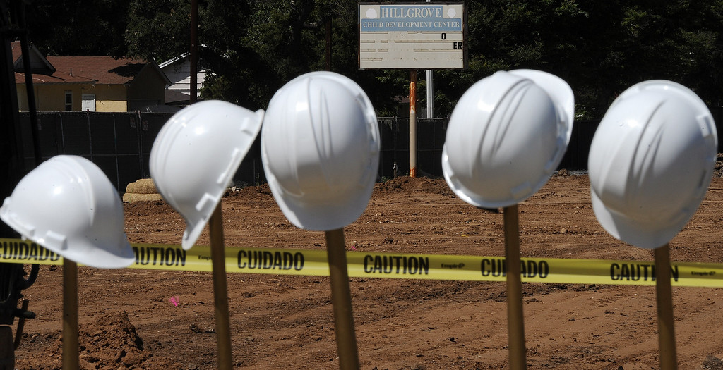 . Gold shovels and helmets await the groundbreaking for the new Hacienda Heights Community Center at the former site of Hillgrove School on Thursday, March 2, 2013 in Hacienda Heights, Calif.    (Keith Birmingham Pasadena Star-News)