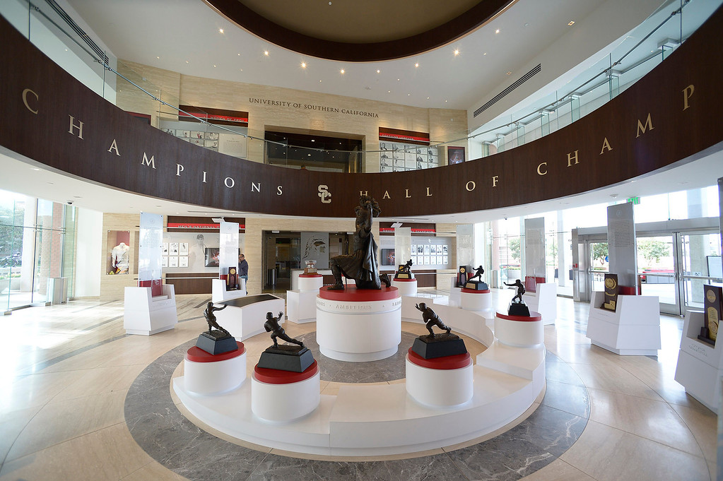 . View of the Hall of Champions. Heritage Hall, which houses USC\'s athletic department, has been closed for the past year while undergoing a $35-million renovation.  The building first opened in 1971 at a cost of $2.8 million and was originally 48,000 square feet. It now is 80,000 square feet. As part of the renovation, Heritage Hall\'s two-story lobby has been transformed into a state-of-the-art museum space featuring interactive displays. Heritage Hall also includes a sports performance center, a broadcast studio, a lounge for Women of Troy student-athletes, a rowing ergometer room and an indoor golf driving area, plus new locker rooms, meeting rooms, equipment room and event space.   Los Angeles , CA. January 30, 2014 (Photo by John McCoy / Los Angeles Daily News)