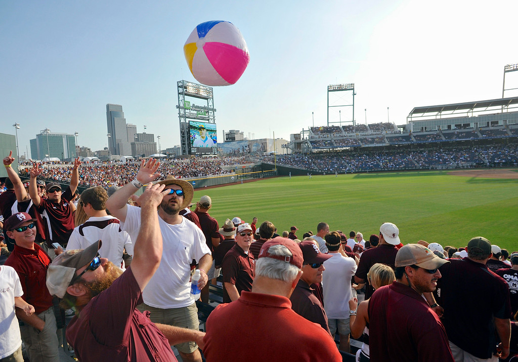 . Mississippi State fans fill TD Ameritrade Park before playing against UCLA in Game 1 in their NCAA College World Series baseball finals, Monday, June 24, 2013, in Omaha, Neb. (AP Photo/Eric Francis)