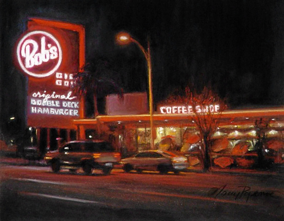 ". ""Bobs\""  by Los Angeles pastel artist Nancy Popenoe.  Popenoe gets her inspiration from the streets and night scenes around her Los Angeles neighborhood.  Photo by David Crane/Los Angeles Daily News"