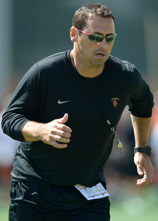 . Steve Sarkisian. Football practice is in full swing on the Howard Jones Field at USC. Los Angeles, CA. 8/6/2014(Photo by John McCoy Daily News)