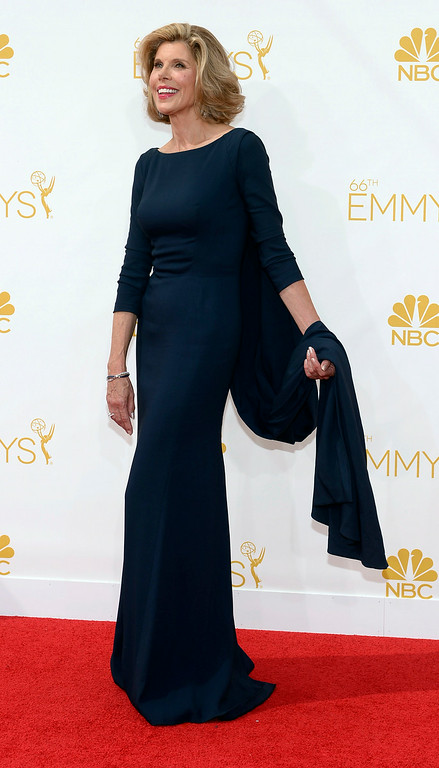 . Christine Baranski on the red carpet at the 66th Primetime Emmy Awards show at the Nokia Theatre in Los Angeles, California on Monday August 25, 2014. (Photo by John McCoy / Los Angeles Daily News)
