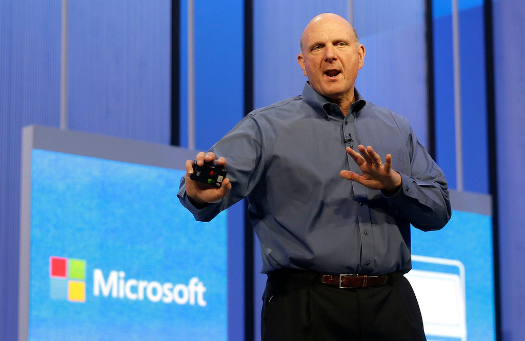 . Microsoft CEO Steve Ballmer speaks at a Microsoft event in San Francisco, Wednesday, June 26, 2013. (AP Photo/Jeff Chiu)