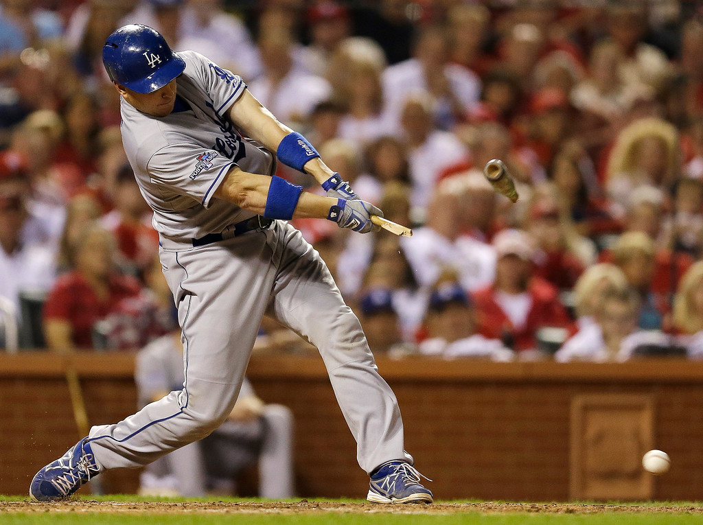 . Los Angeles Dodgers\' A.J. Ellis breaks his bat as he grounds out during the sixth inning of Game 1 of the National League baseball championship series against the St. Louis Cardinals, Friday, Oct. 11, 2013, in St. Louis. (AP Photo/Jeff Roberson)