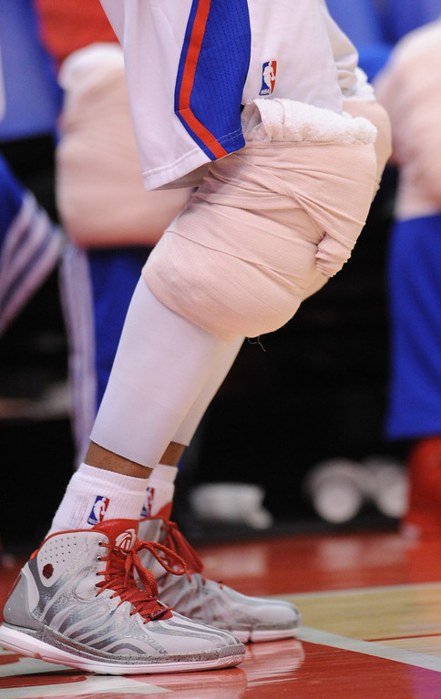 . Clippers#22 Matt Barnes has ice on his knees in the 2nd half. The Los Angeles Clippers defeated Denver Nuggets 117 to 105 in a regular season NBA game. Los Angeles, CA. 4/15/2014(Photo by John McCoy / Los Angeles Daily News)