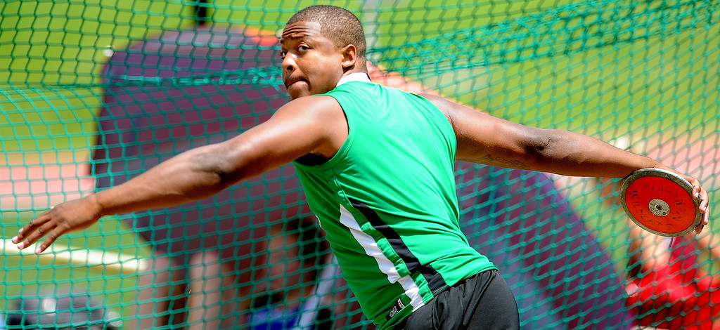 . Monrovia\'s George Frazier during the CIF-SS track & Field championship finals in Hilmer Stadium on the campus of Mt. San Antonio College on Saturday, May 18, 2013 in Walnut, Calif.  (Keith Birmingham Pasadena Star-News)