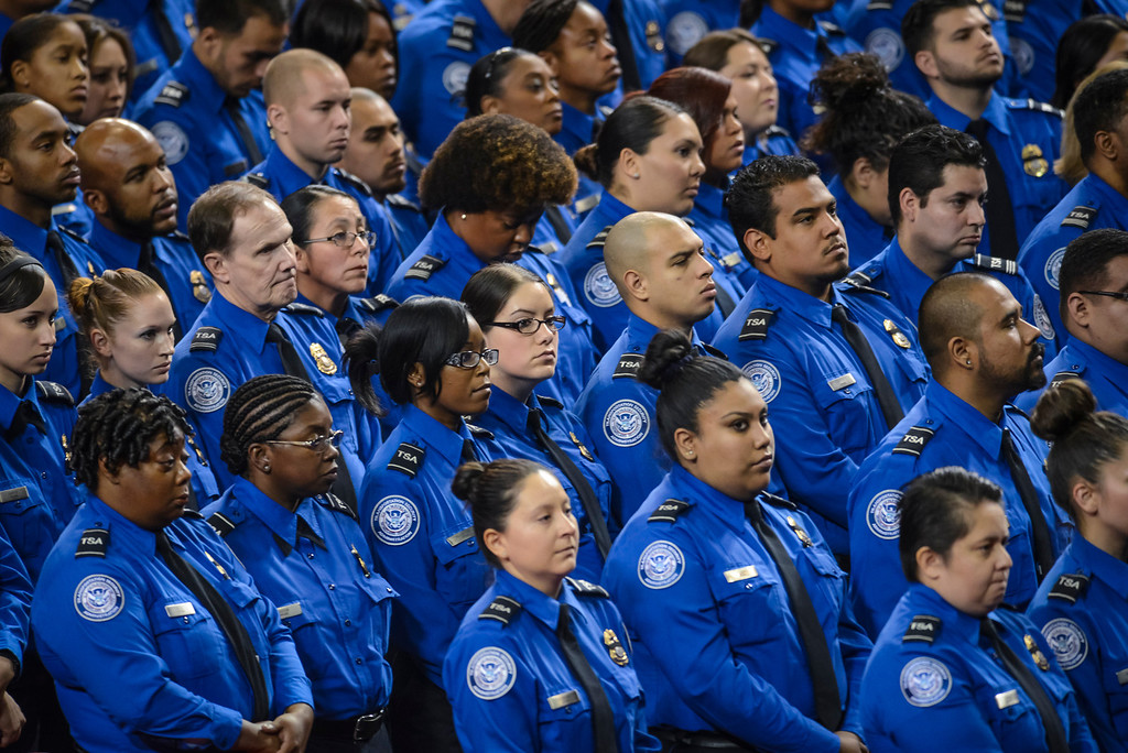 . Hundreds TSA officers filled the Los Angeles Sports arena for the memorial Tuesday, November 12, 2013.  A public memorial was held for Officer Gerardo who was killed at LAX when a gunman entered terminal 3 and opened fire with a semi-automatic rifle, Grigsby was wounded in the attack.  ( Photo by David Crane/Los Angeles Daily News )