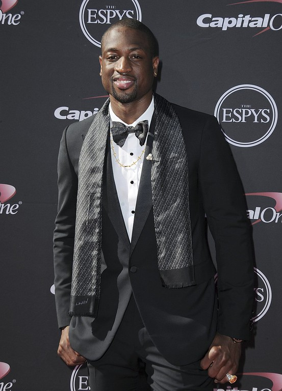 . Miami Heat\'s Dwyane Wade arrives at the ESPY Awards on Wednesday, July 17, 2013, at Nokia Theater in Los Angeles. (Photo by Jordan Strauss/Invision/AP)