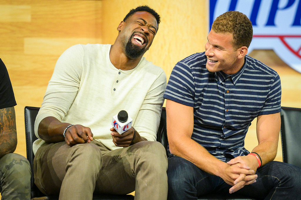 . Clippers DeAndre Jordan and Blake Griffin at a fan rally at Staples Center Monday August 18, 2014.  ( Photo by David Crane/Los Angeles Daily News )
