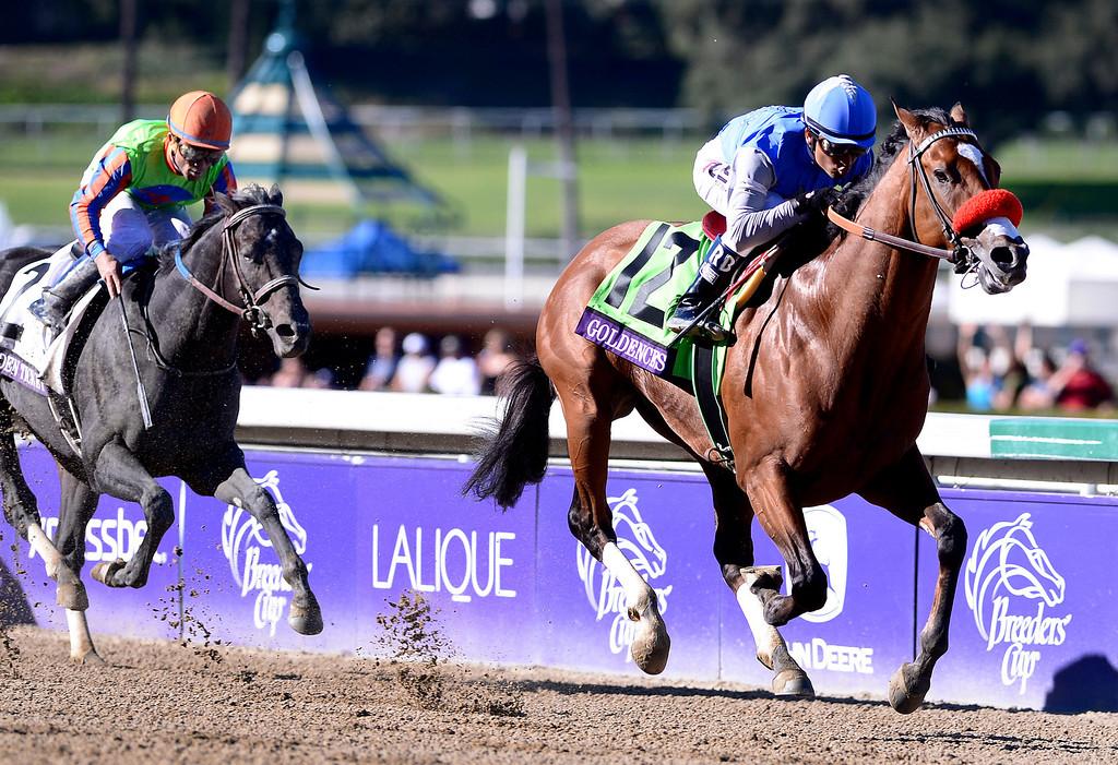 . Rafael Bejarano on Goldencents wins the Breeders\' Cup Dirt Mile race at the Breeders\' Cup at Santa Anita Park in Arcadia Friday, November 1, 2013. (Photo by Sarah Reingewirtz/Pasadena Star-News)
