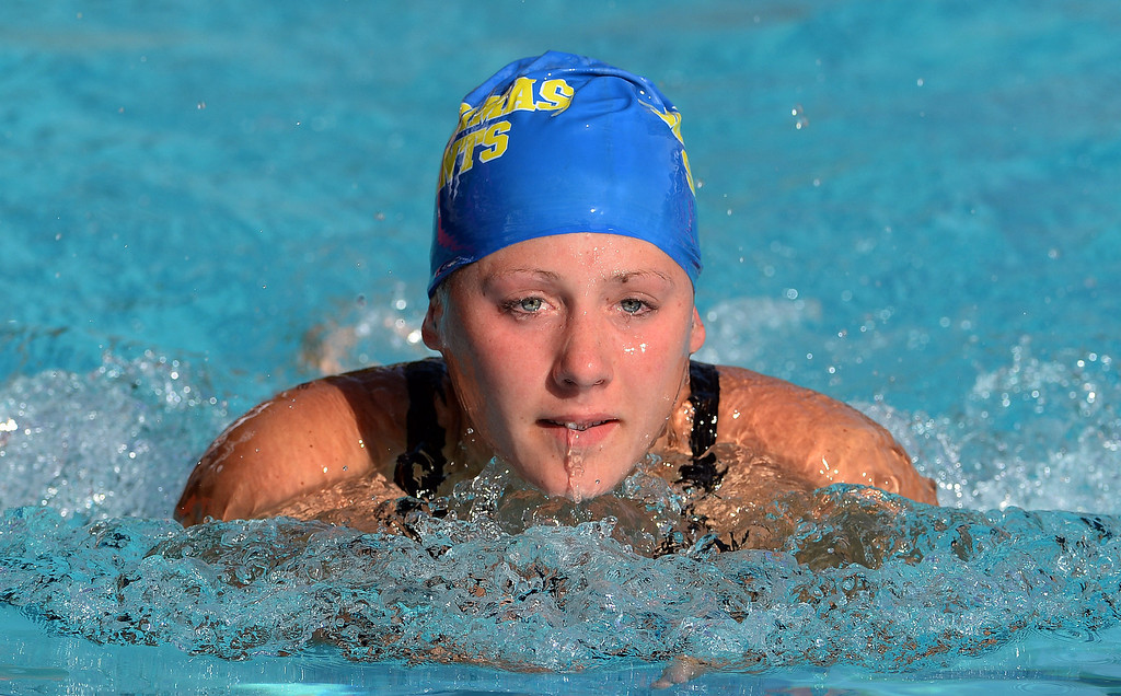 . San Dimas\'s Shelby Garcia competes in the 200 yard medley during the Division 4 CIF Southern Section Swimming Championships in the Riverside Aquatics Complex at Riverside City College in Riverside, Calif., on Friday, May 16, 2014.  (Keith Birmingham/Pasadena Star-News)