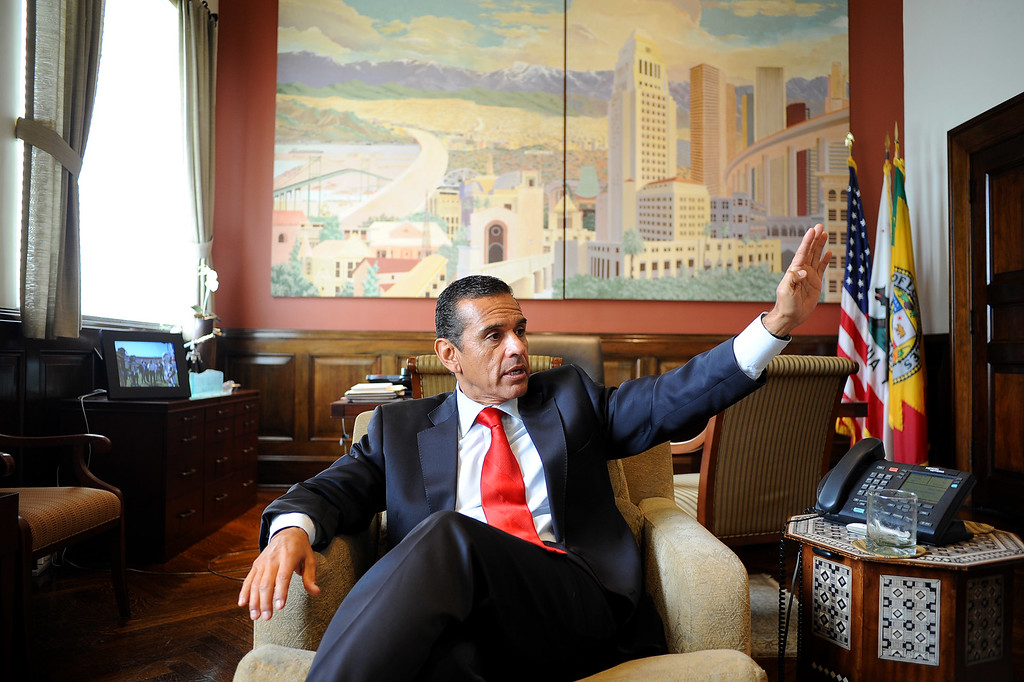 . Mayor Antonio Villaraigosa discusses his 8 years as mayor of Los Angeles June 12, 2013.(Andy Holzman/L.A. Daily News)