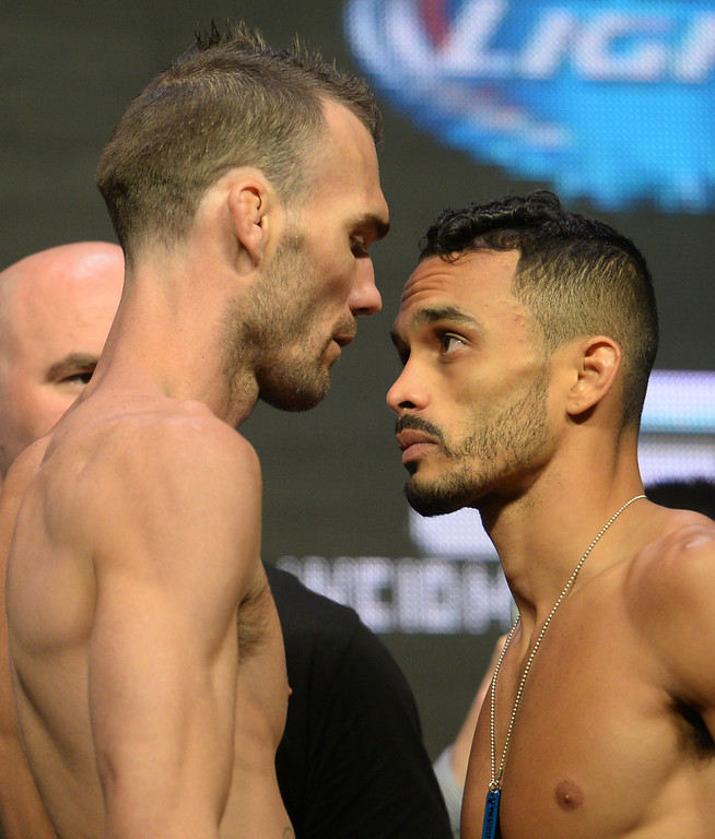 . George Roop and Rob Font during weigh ins for UFC 175 at the Mandalay Bay Events Center July 4, 2014. (Photo by Hans Gutknecht/Los Angeles Daily News)