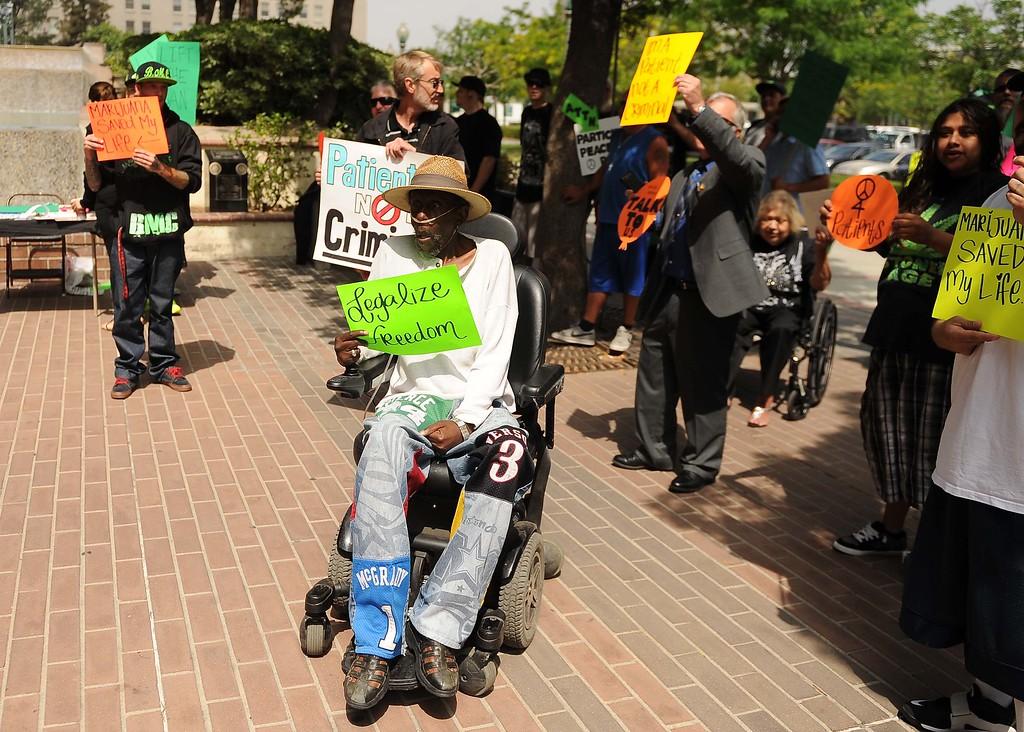 . Medical Marijuana Patients Protest at San Bernardino City Hall Thursday.LaFonzo Carter/ Staff Photographer