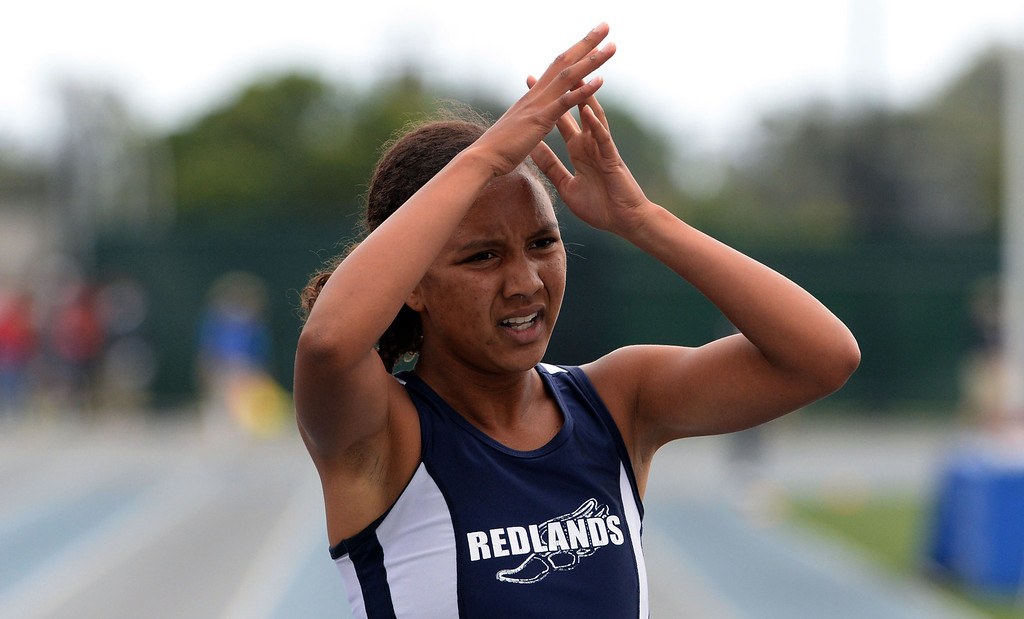. Redland\'s Margaux Jones finishes second in the division 2 200 meters race during the CIF Southern Section track and final Championships at Cerritos College in Norwalk, Calif., Saturday, May 24, 2014. 