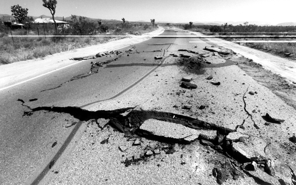 . June 28, 1992: Highway 247 was severely damaged when Sunday\'s first earthquake struck the Yucca Valley area.  Daily News file photo