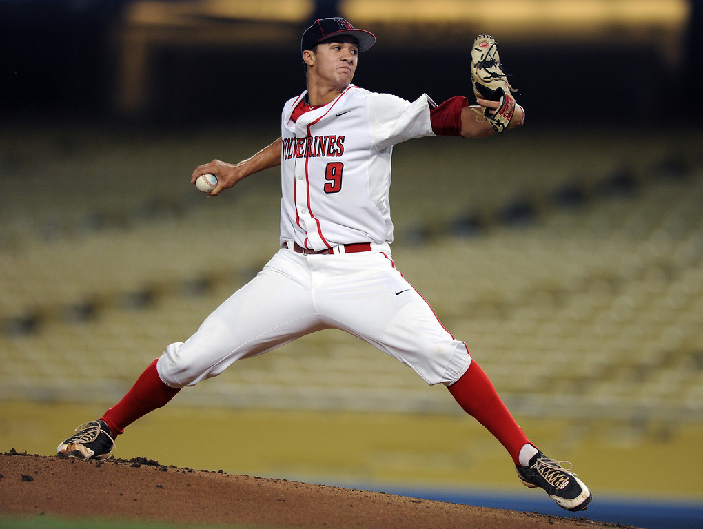 . Harvard-Westlake\'s Jack Flaherty pitches. (Michael Owen Baker/Staff Photographer)