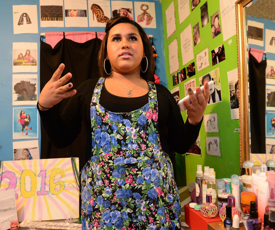 . Transgender student, Staceyy Holidayy, 15,  talks about her two-day suspension on Wednesday for a dress code violation at El Rancho High School in Pico Rivera, Calif., on Friday January 10, 2014. Holidayy, formerly Roberto Valencia, was told that she was not allowed to use the girl\'s restroom but had to use the restroom in the nurses office. (Staff Photo by Keith Durflinger/Whittier Daily News)