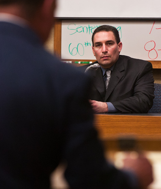 . Anthony Orban a former Westminster police detective on the stand at a Rancho Cucamonga court room. Orban who blamed the antidepressant Zoloft for his behavior took the stand Wednesday in West Valley Superior Court in the sanity portion of his trial. (Staff photo/Inland Valley Daily Bulletin)