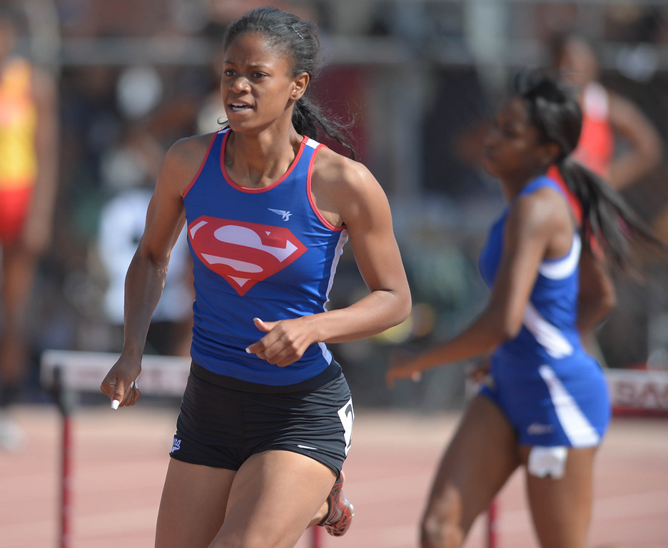 . Serra\'s Megan George takes second in the 300 meter Division 4 low hurdles race of the CIF Southern Section Track and Field Championships Saturday at Mt. SAC. 20130518 Photo by Steve McCrank / Staff Photographer