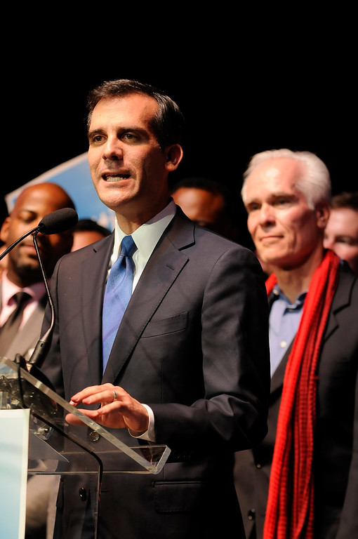 . Los Angeles Mayoral candidate Eric Garcetti held his election night party at The Hollywood Palladium where supporters showed hear him speak. Hollywood, CA 5/22/2013(John McCoy/LA Daily News)