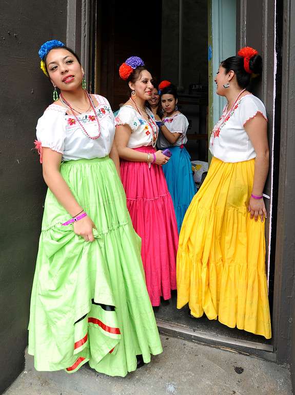 """. (l-r) Sonia Leyva, Saray Leyva, Celina Bedolla and Donaji Cruz get ready to perform. LAUSD\'s program \""""Beyond The Bell,\"""" held a talent show and competition on the Paramount Studios Lot. Stages were set among streets replicating New York City, where kids from 49 Junior High and High Schools danced, sang, played instruments and gave spoken work performances to compete for more than $40,000 in scholarships. Hollywood , CA 5/11/2013(John McCoy/LA Daily News)"""