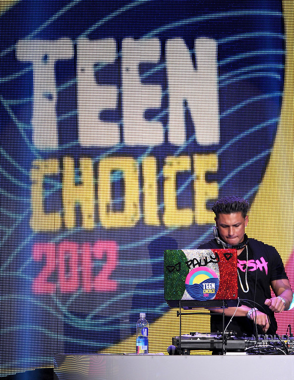 . August 11, 2013: Teen Choice Awards<br /> <br />UNIVERSAL CITY, CA - JULY 22:  DJ Pauly D spins onstage during the 2012 Teen Choice Awards at Gibson Amphitheatre on July 22, 2012 in Universal City, California.  (Photo by Kevin Winter/Getty Images)