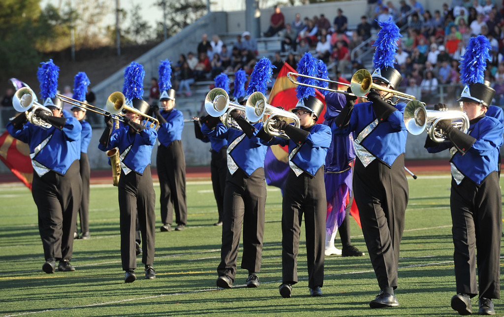 """. The McQueen High School \""""Lancer Band\"""" from Reno, Nevada performs during the 34th Annual Pasadena Tournament of Roses Bandfest at Pasadena City College on Monday December 30, 2013. (Staff Photo by Keith Durflinger/Pasadena Star-News)"""