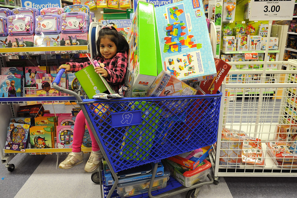 . Hasini Surapaneni waits in the cart as her mom shops at the Porter Ranch Toys�R�Us store November 26, 2013.  Many retailers opened their doors with deals starting on Thanksgiving rather than on the traditional Black Friday.(Andy Holzman/Los Angeles Daily News)