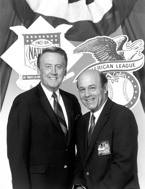 . Vin Scully, left, and Joe Garagiola in 1987.   L.A. Daily News file photo