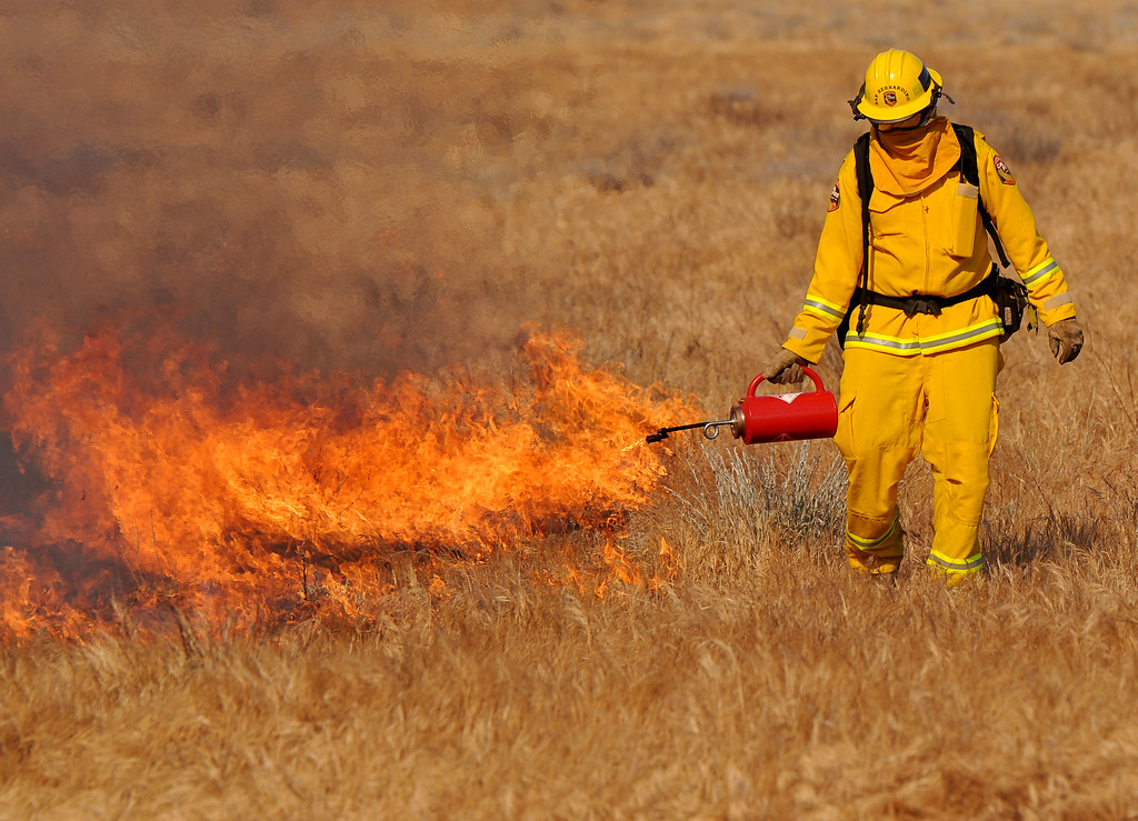 . (John Valenzuela/Staff Photographer)  Cal Fire sets a back fire to battle against a brush fire that ignited about 12:38 p.m. today and has since grown to 1,700 acres, according to Cal Fire officials.