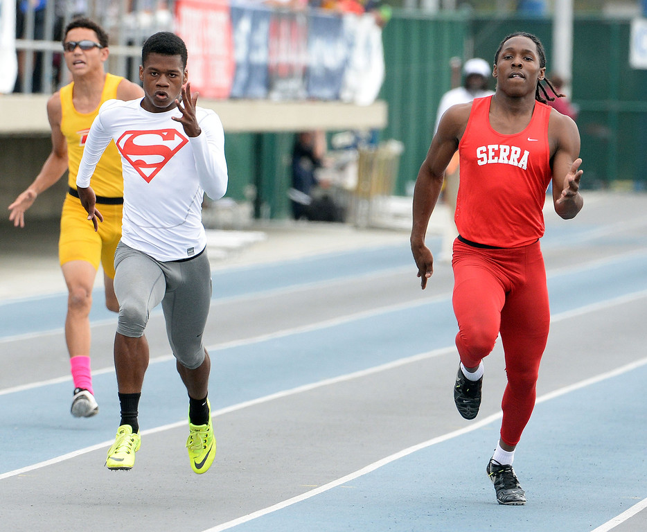. Serra\'s Adoree Jackson, right, as Serra\'s Ronny Hall, left, wins the division 4 200 meter race during the CIF Southern Section track and final Championships at Cerritos College in Norwalk, Calif., Saturday, May 24, 2014. 