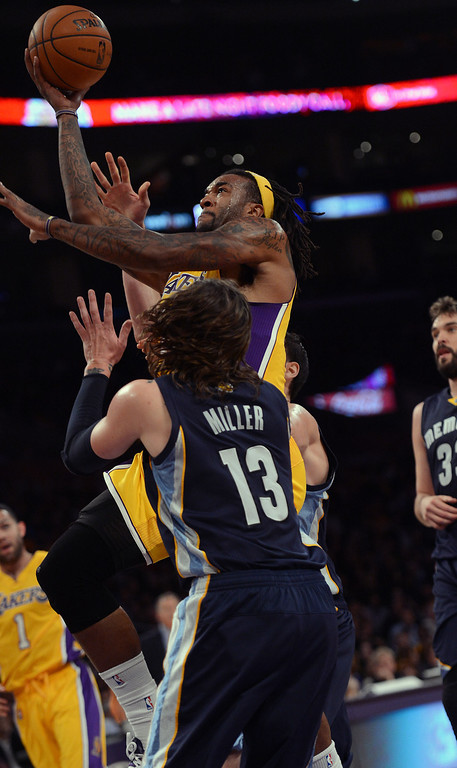 . The Lakers� Jordan Hill #27 during their game against the Grizzlies at the Staples Center in Los Angeles Friday, November 15, 2013. The Grizzlies beat the Lakers 89-86.  (Photo by Hans Gutknecht/Los Angeles Daily News)