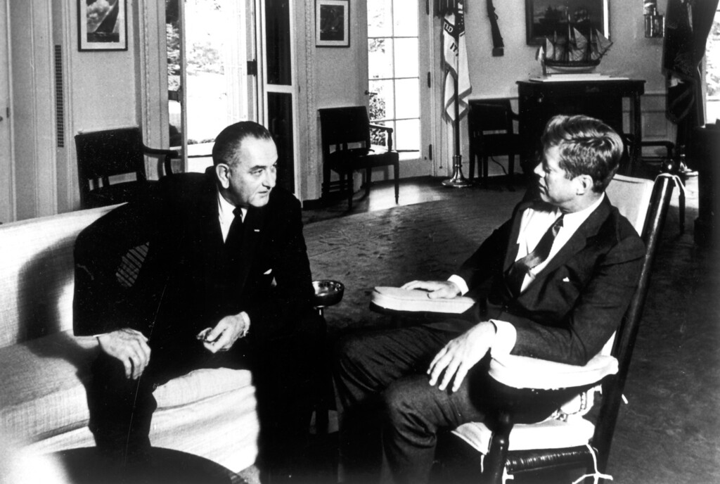 . The President with Vice President Johnson in the Oval Office, 1963.   Los Angeles Daily News file photo