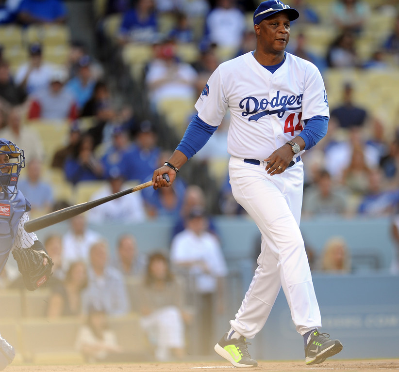 . Former Los Angeles Dodgers Darryl Strawberry during the Old-Timers game prior to a baseball game between the Atlanta Braves and the Los Angeles Dodgers on Saturday, June 8, 2013 in Los Angeles.   (Keith Birmingham/Pasadena Star-News)