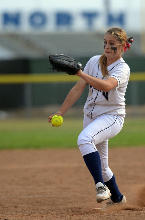 . North\'s Amy Rodriguez (8) pitches to Peninsula in a first round CIF SS Division III softball game Thursday in Torrance. Peninsula won 4-1. 20130516 Photo by Steve McCrank / Staff Photographer