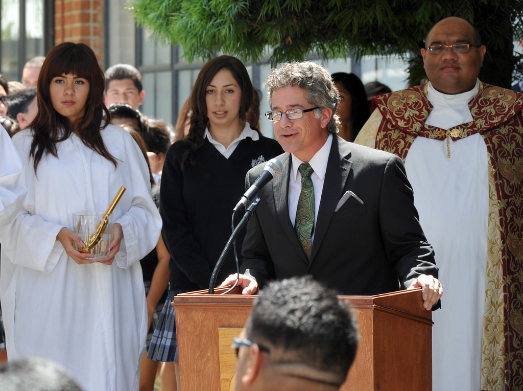 . School officials, students and guests celebrate their new $650,000 Science Center at St. Paul High School in Santa Fe Springs on Thursday May 2, 2013. The Science Program and Technology Infrastructure will enable the school to offer state-of-the-art science programs. (SGVN/Staff Photo by Keith Durflinger)